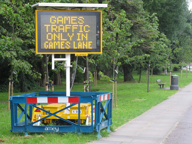 """Games traffic only in games lane"" Olympics sign"