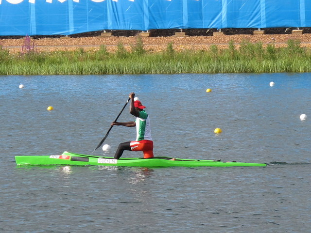 Ndiatte Gueye of Senegal, Olympics men's single canoe Eton Dorney