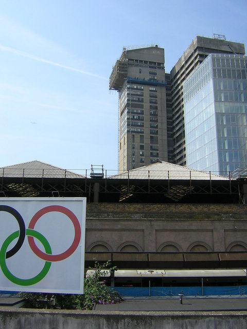 Guy's Hospital from London Bridge station during the Olympics