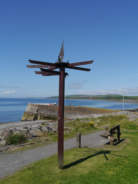Millennium Signpost And The Quay At Port William