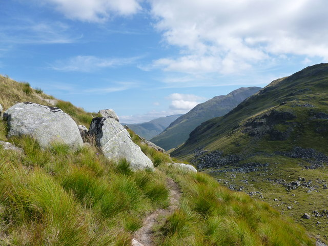 Path towards the bealach on west ridge of Meall Garbh