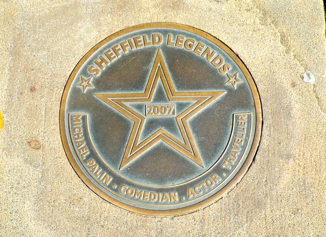 Michael Palin - Comedian . Actor . Traveller ... Sheffield Legends Plaque, Pinstone Street, Sheffield