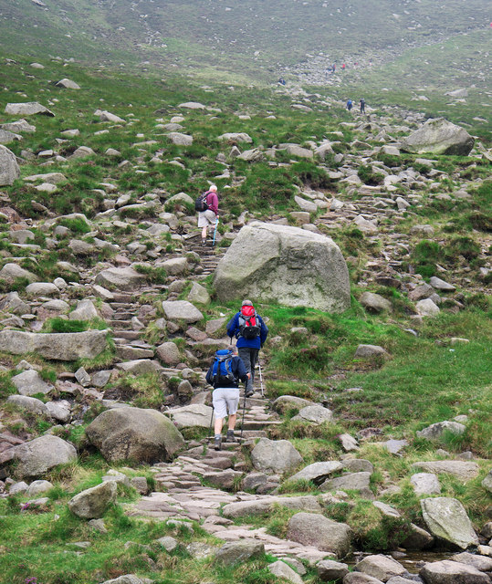 Approaching the saddle in the Mourne Mountains