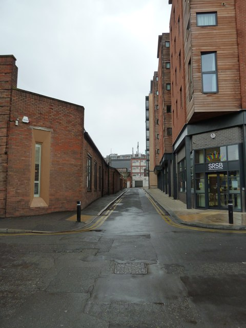 Looking from Mappin Street into Charlotte Lane