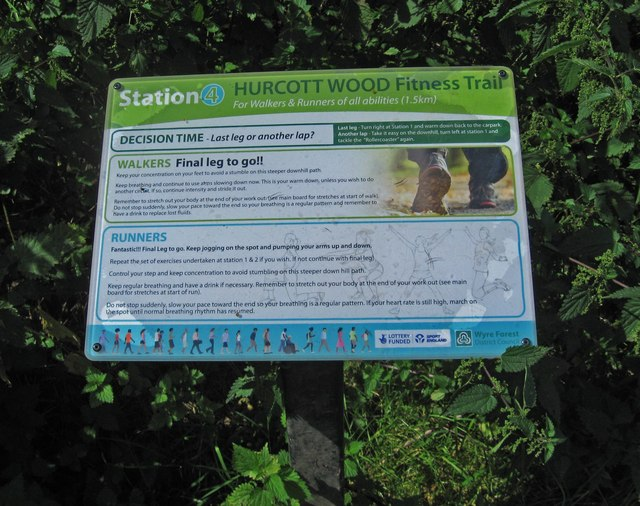 Hurcott Wood Fitness Trail - information board at station 4, near Kidderminster