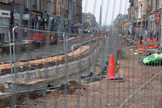 Road works in Shandwick Place Edinburgh