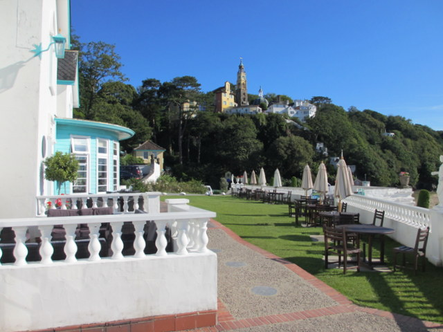 Portmeirion Hotel terrace and The Village