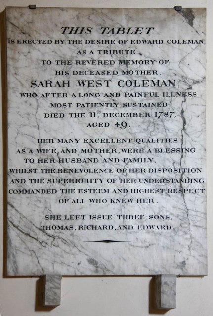 All Saints, Burmarsh - Wall monument