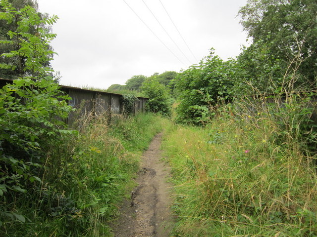 The path goes over a disused railway line