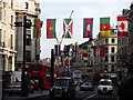 TQ2981 : National Flags Above Regent Street by Colin Smith
