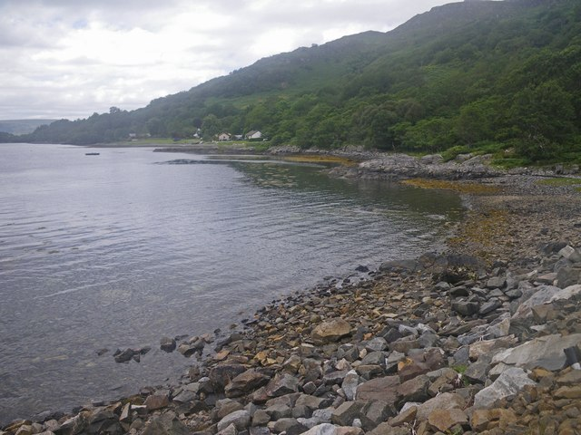 Shingle beach on small cove in Loch Sunart