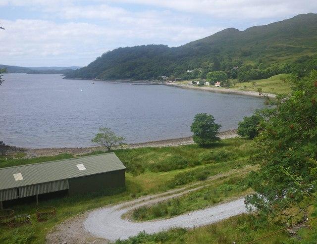 Scene along the coast of Camas Ban of Loch Sunart