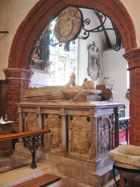 Memorial to John,  the first Baron Petre. Ingatestone parish Church