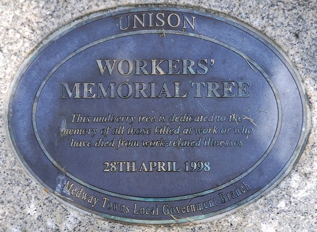 Plaque by Workers' Memorial Tree