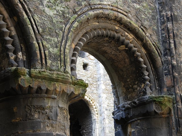 Detail of Norman colonnade in Rochester Castle