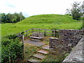 SO2242 : Stone bench and an ancient motte, Hay-on-Wye by John Grayson