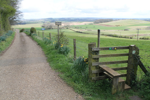 Road to Gorse Farm and Footpath stile