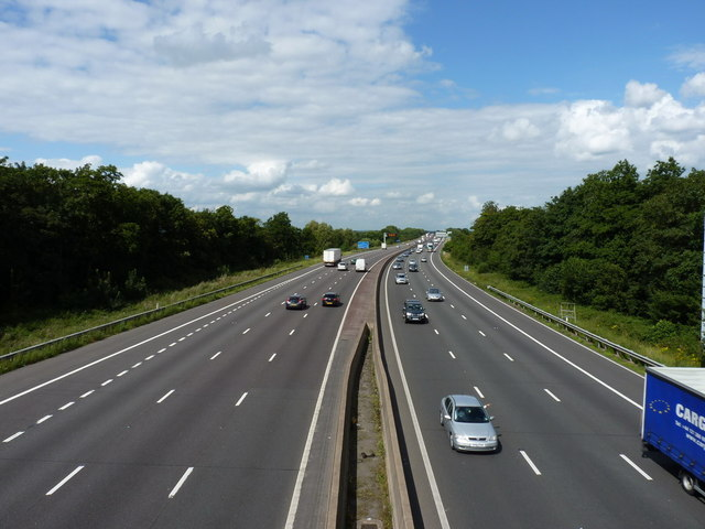 The M6 north of Gailey