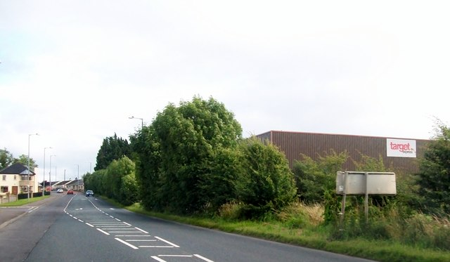 The A34 passing the Target Express Depot, Lisnaskea
