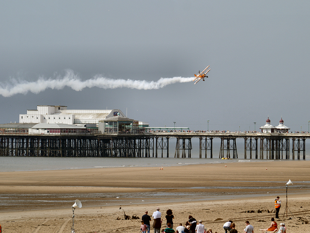 Beach and North Pier, Breitling Wingwalkers at the 2012 Blackpool Air Show