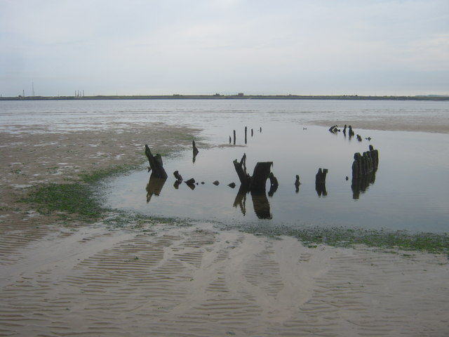 Boat remains in North Gare Sands with the South Gare in the background