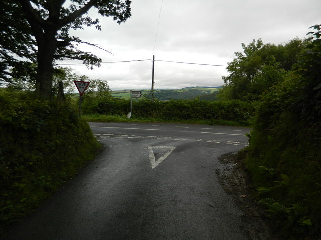 The junction of the A4120 and the road to Llanfihangel-y-Creuddyn
