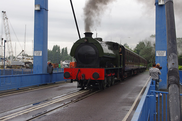 Ribble Steam Railway train on swing bridge