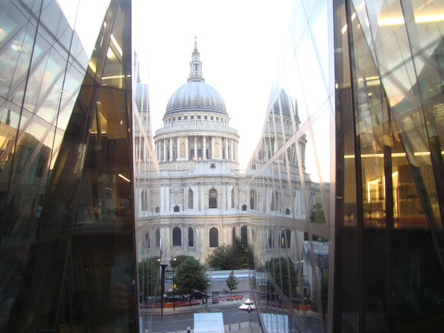 View of St Paul's Cathedral from the lift in the One New Change Shopping Centre