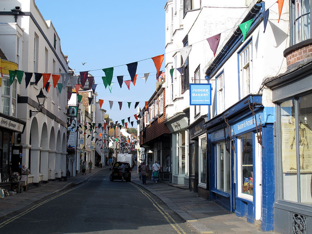 Hastings High Street with bunting