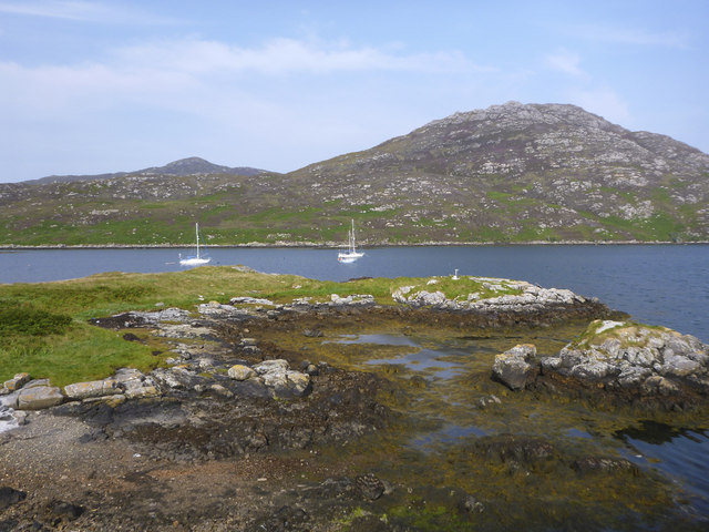 Boats moored in Lochboisdale