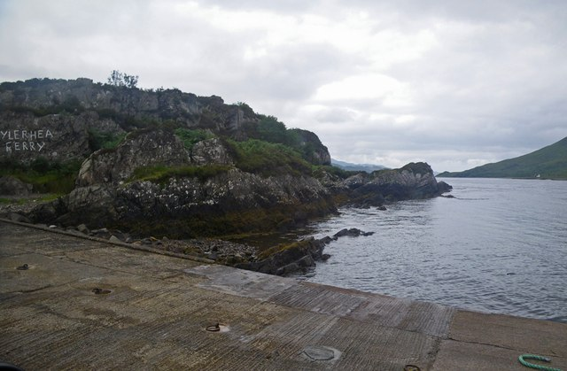 Slipway and rocky shoreline at eastern end of Kylerhea Ferry