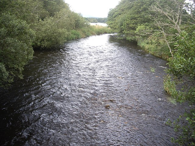 Downstream view from the footbridge over one arm of the River Dee