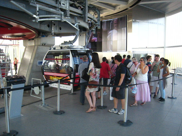 Queueing for the cable cars on the Emirates Air-Line