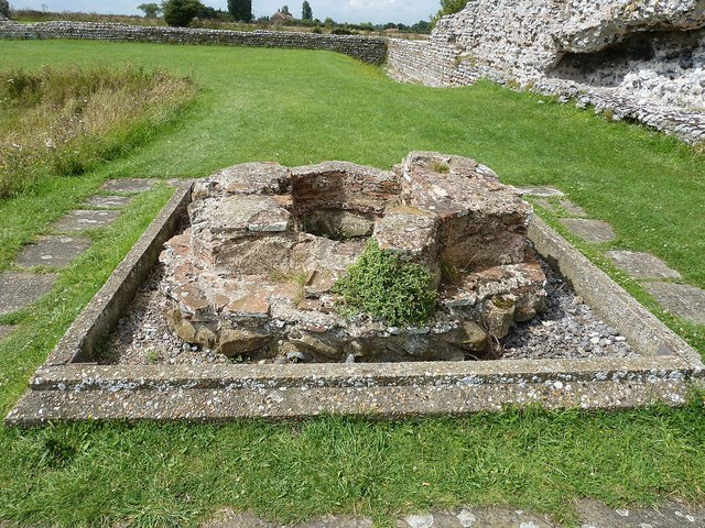 Richborough Castle Roman Fort - remains of font