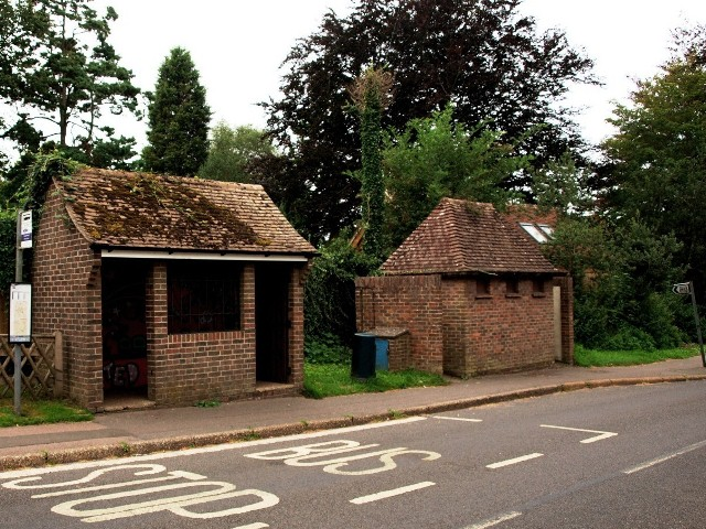 Bus shelter and conveniences for ladies and gentlemen at Horsted Keynes