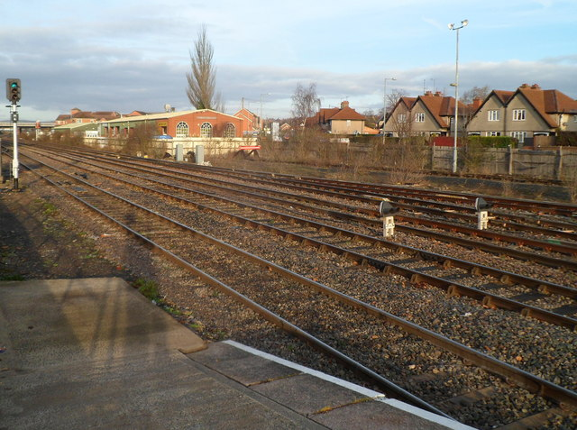 Across the tracks at Hereford railway station