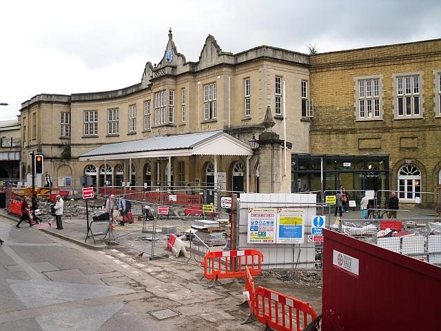 Works on the forecourt at Bath Spa Station