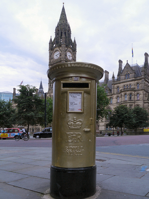 Gold Postbox, Albert Square