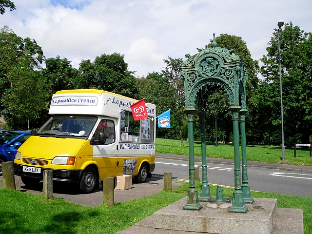 Ice cream van and disused drinking fountain, Clifton Down