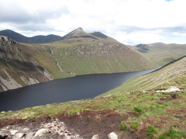 Ben Crom Reservoir from the col between Slievelamagan and North Tor