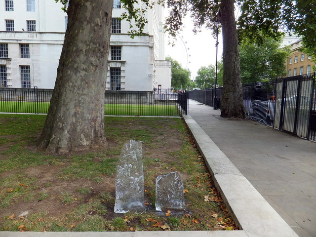 Two shards of ice in Whitehall London
