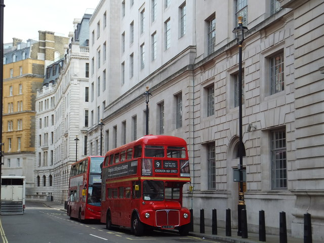 Number 9 Routemaster Bus in Old Scotland Yard
