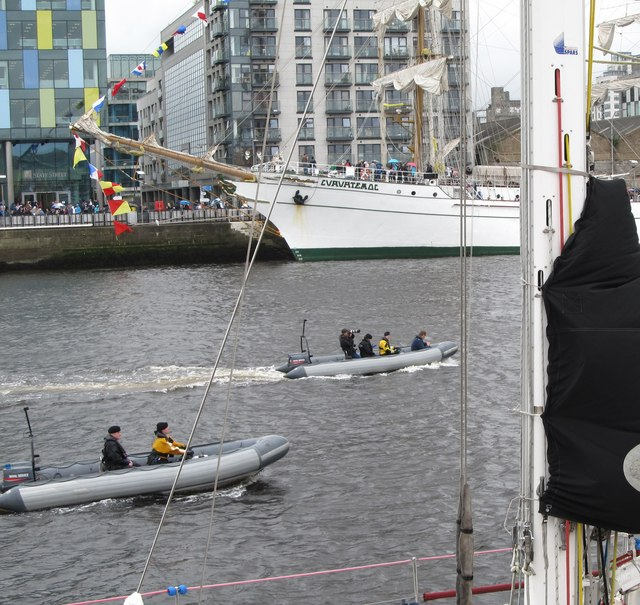 Patrol RIBs of the Irish Naval Service on the Liffey during the Tall Ships Festival
