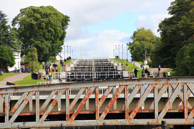 Rail bridge and Neptune's Staircase, Caledonian Canal.