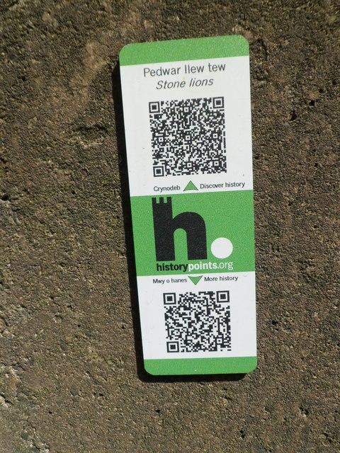 HiPoints information QR code near the Britannia Bridge lions, Treborth