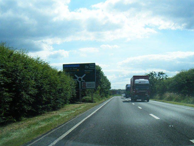 A534 approaching Crewe Green roundabout