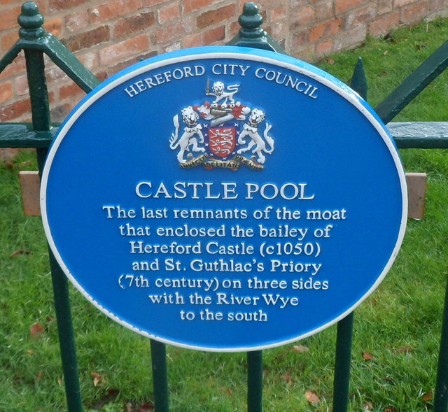 Castle Pool blue plaque, Hereford