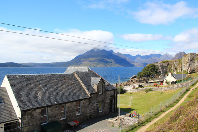 Elgol School with Cuillin Hills in distance