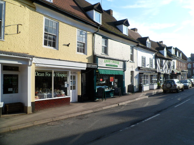 Broad Street charity shop and butcher's shop, Newent
