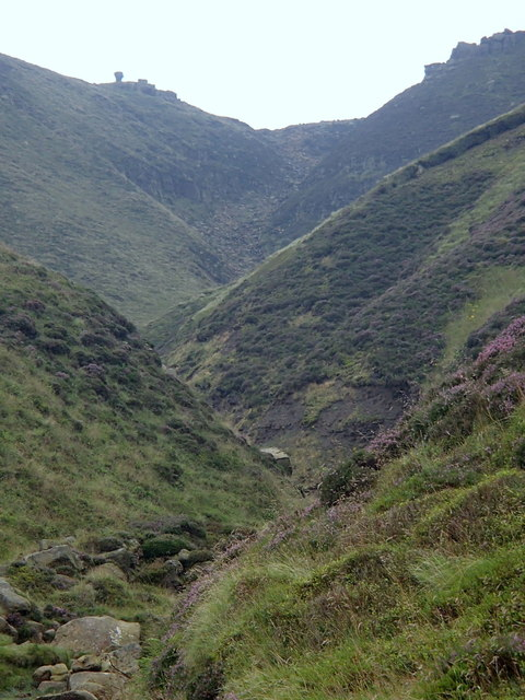 Towards the top of Grindsbrook Clough